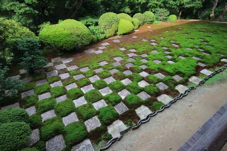 Modern cross checked pattern zen garden with traditional material Reklamní fotografie