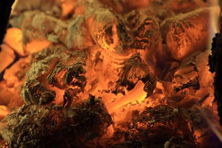 yule log: fire burning from coal wood