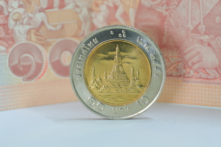 stockmarket: Thai money currency paper banknote and coin. For background or saving money concept.