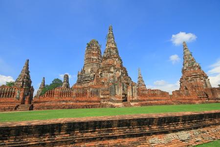 Pagoda in Wat Chaiwatthanaram temple. Famous tourist destination in Ayutthaya Historical Park, Thailand,