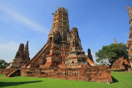 ayuthaya: Pagoda in Wat Chaiwatthanaram temple.  Famous tourist destination in Ayutthaya Historical Park, Thailand,