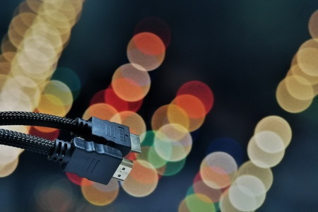 close shot of HDMI cable on bokeh background
