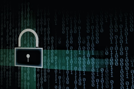 data safety internet security concepts. binary code numbers with padlock icon background on computer monitor. Private cyberspace business environment Stok Fotoğraf
