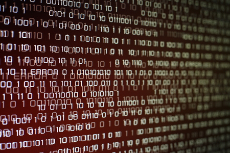 red binary code on computer screen with glittering light and error message. Red binary code background for problem internet, business, connection, technology and modern computer concepts.