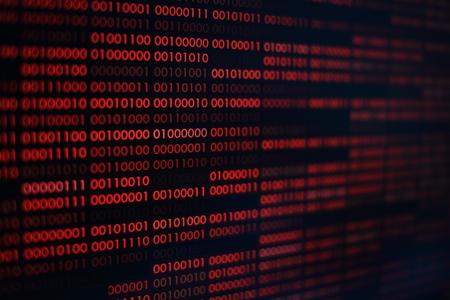 codice binario rosso. sfondo di tecnologia informatica. codice binario rosso trasferimenti di dati in linguaggio computer. big data non sicuri e pericolosi e rete informatica di intelligenza artificiale ai.