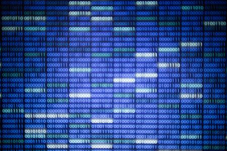 datos de blockchain. Fondo de código de datos binarios azul y blanco brillante para la función de seguridad de Internet y el ciberespacio. patrón de bloque de texto número uno y cero en la pantalla del monitor LED.