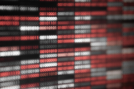 red binary code background. dangerous virus infection internet connection. computer errors and hacker breaching into the computer system. soft focus and surrounded by scarry dark red tone. Stock Photo