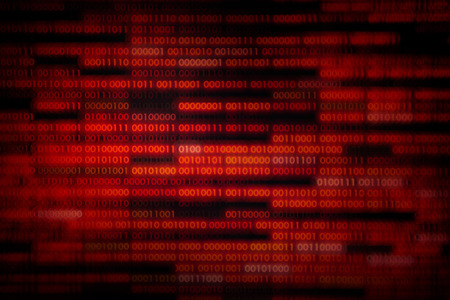 corrupted data. red binary code with missing pieces. computer technology problem virus error darknet and hacking background. computer language data transfers. Stockfoto