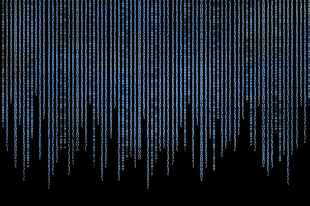 computer data matrix. vertical digital binary code moving motion downward. light up blue one and zero text flowing down. black background space with multiple layers coding. Reklamní fotografie