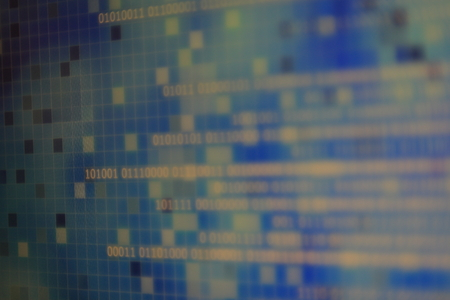 magic of information technology. computer data in binary format with blur world map background behind transparent blue block grid. ocean on digital information data.