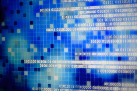 binary data code. side way motion of one and zero text moving on computer monitor screen. selective focus and bokeh blur photo effect. digital information on blue block. Imagens