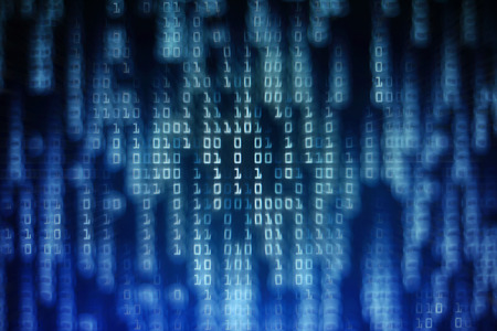 data science binary code. big data analysis. information flowing in matrix columns. one and zero code made of one and zero number text trailing with bokeh light. picture of computer monitor display. Imagens