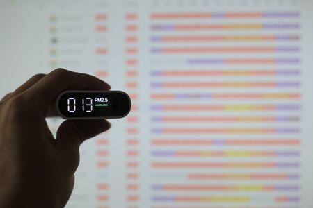 Luftqualität messen. Feinstaub 2.5 (pm.2.5) Sensor in einer Hand. schädlicher kleiner Staubdetektor zeigte eine gesunde akzeptable Luftqualität an. Hintergrund von Luftqualitätsdiagrammen verwischen. Standard-Bild