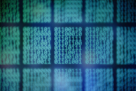 age of big data. blocks of binary code on blue background. focus in the center and bokeh defocused surrendered. computer language theme. ai and Blockchain concepts.