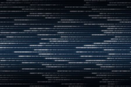 binary code flowing right to left. light growing white digital numbers. illustration background for computer language coding and machine learning algorithms themes. Reklamní fotografie