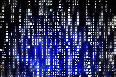 Blue code of binary information bit for ai, big data, files transmitted, online transaction and economic e-commerce website development. Reklamní fotografie