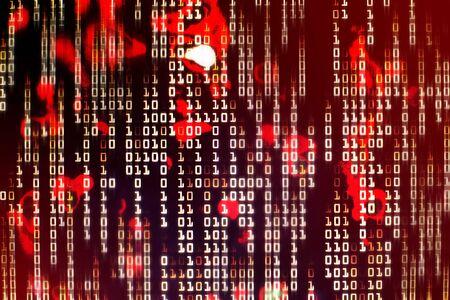 Red binary code blocks flowing downward. danger, war, conflict, hacker, error and virus concepts Reklamní fotografie