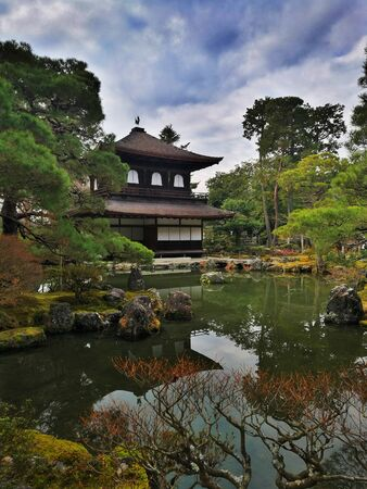 Ginkakuji the silver palace in Kyoto. Japanese style architecture in a tourist attraction near philosophy walk. grand building in a traditional Japan garden.