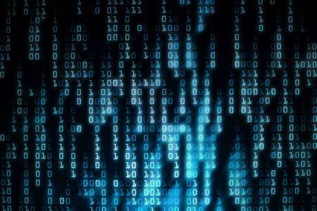 fondo binario rojo. Matriz de datos grandes defectuosos de la computadora. foto de exposición múltiple de la pantalla LED que muestra códigos de información. Conceptos de software espía de virus informáticos hacker. conceptos de análisis de datos y ia.