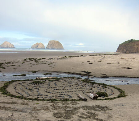 Labyrinth made of ocean materials on the beach