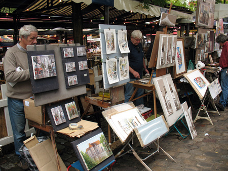 PARIS, FRANCE - SEPTEMBER 12  Artists and artwork on 9 12 2007 at Place du Tertre in Montmartre, Paris