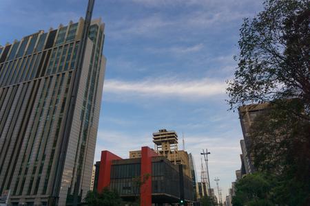 Sao Paulo, SPBrazil - October 1, 2017. Buildings of Avenida Paulista with highlight to MASP, postcard of the city. Editorial