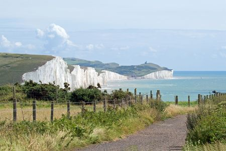 seven sisters: The Seven Sisters chalk cliffs, with Birling Gap and Beachy Head