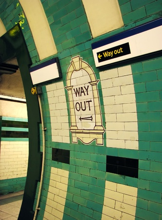 exit sign: Way Out London Tube