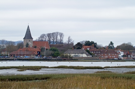 west sussex: Winter view across Bosham Harbour in West Sussex Stock Photo
