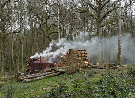 weald: Charcoal burning in modern kiln in English woodland