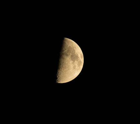waxing gibbous: Richly coloured waxing gibbous moon on Sepember 2nd, 2014 Stock Photo