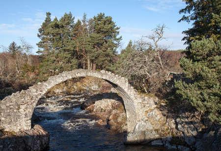 old packhorse bridge: The Old Packhorse Bridge in Carrbridge, Inverness-shire in Scotland.