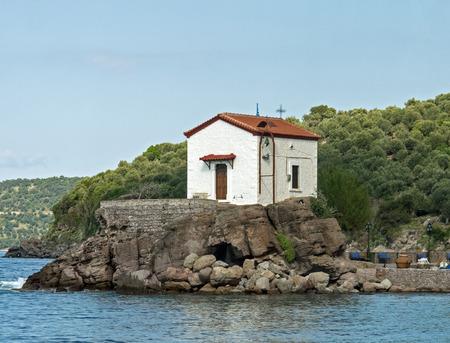 skala: Tiny and picturesque church of Panagia Gorgona in the Lesvos fishing village of Skala Sikaminias