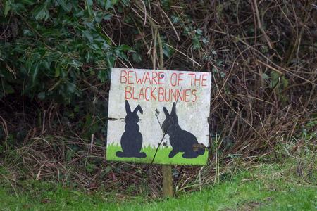 검은 색 토끼를 조심해야 할 경고 운전자 밀턴 스트리트, 이스트 서 섹스 (East Sussex)의 도로를 따라 잔디밭에 서서 서명하십시오. 스톡 콘텐츠