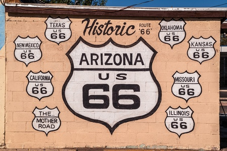 Concrete block wall painted with Route 66 signs for all the states on the Mother Road