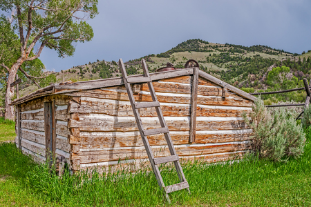 lived: Log cabin with many nails on the side and a ladder to the roof at Bannack State Park in Montana.  Sydney Edgerton, his wife, Mary, their four children, and his niece, Lucia Darling, lived in this sod-roofed home.  The front room served as a combination li