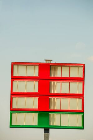own: Empty sign in red and green.  Use it to set your own gas and diesel prices.
