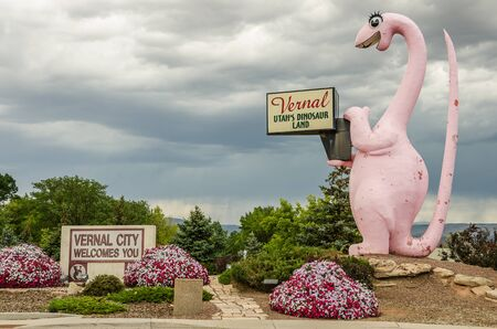vernal: This delightful pink dinosaur offers a huge welcome to visitors to Vernal, Utah.  Be careful, she is likely to roll her eyes at you if you stare too long!