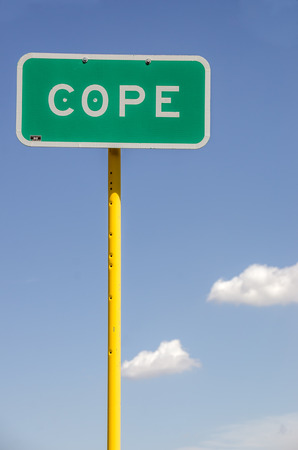 coping: Sign for the town of Cope, Colorado.  Use it for anything that applies to the words cope, coping, cope with, deal with, get by, face, handle, etc.
