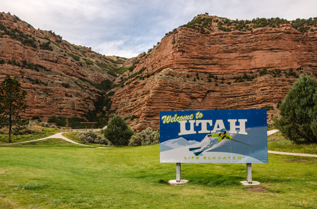 interstate 80: Utah welcome sign at a rest area along interstate 80 in summer.