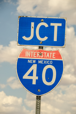 jct: Sign showing the junction of Interstate 40 in New Mexico.  Much of Route 66 is now part of I-40. Stock Photo
