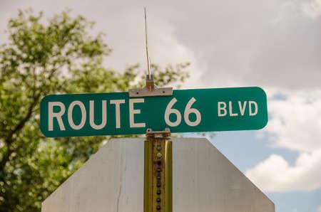 66: Sign for Route 66 Blvd in Tucumcari, New Mexico