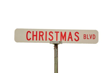 blvd: Red and White street sign for Christmas Blvd