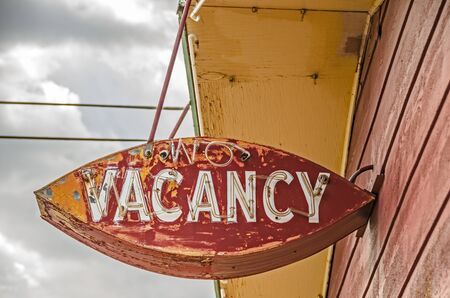 vacancy: Old, weathered, neon no vacancy sign for a former motel on Route 66