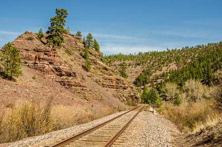 railroad tracks: Railroad tracks in Montana disappearing around a curve on a spring day