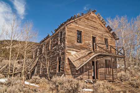 neglect: Old hotel in a Montana ghost town is losing its balcony and roof to time and neglect.