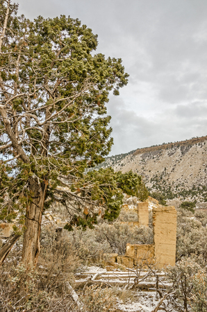peerless: Remnants of a stone building in the ghost town of Peerless, Utah.
