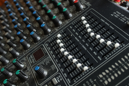 mixing board for sound close up