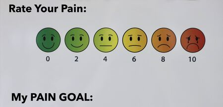 hospital room pain scale from 0 to 10 with emoji faces and pain goal on a white background with copy space 写真素材