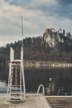 Empty beach view of Castle of Bled, Slovenia
